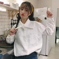 灯芯绒衬衫女秋冬新款韩版百搭纯色宽松显瘦长袖打底上衣学生衬衣