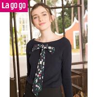 Lagogo/拉谷谷2019春季新款直筒喇叭袖一字领口针织衫