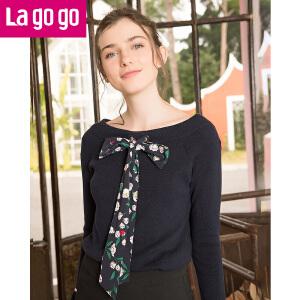 Lagogo/拉谷谷2018春季新款直筒喇叭袖一字领口针织衫
