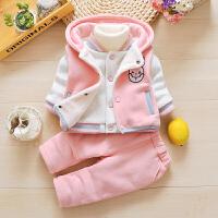 2018冬季1-2-3岁女童加绒卡通卫衣三件套女宝宝婴幼儿9冬装套装潮 粉红色