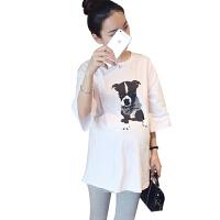 孕妇装夏季短袖T恤2018大码孕妇装宽松印花纯棉短袖上衣白色t恤衫8968 白色