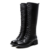 高筒靴女平底2018新款真皮骑士长靴粗跟韩版圆头靴子女秋冬季女靴 黑色 绒里