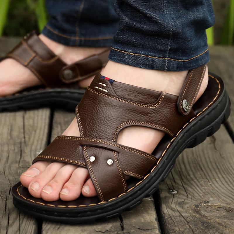 凉鞋男拖鞋男2019夏季新款男士凉鞋男真皮沙滩鞋休闲男鞋厚底拖鞋1919SZK