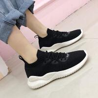 休闲鞋 女士透气飞织网系带袜子鞋2020秋季新款韩版时尚女式柔软舒适运动老爹鞋女鞋子