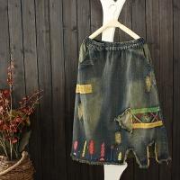 文艺女装复古做旧破洞贴布小树牛仔百搭中长半身裙 蓝色 均码
