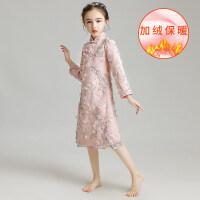 女童旗袍公主裙儿童唐装晚礼服加绒长袖加厚中国风复古演出服冬季