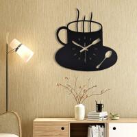 咖啡杯现代家居铁艺挂钟表简约墙壁钟表客厅餐厅装饰静音创意时钟 黑色