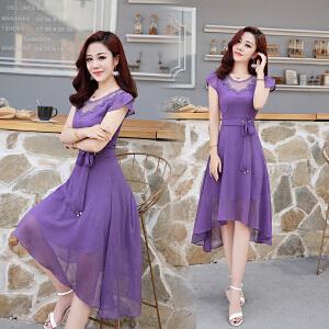修身雪纺连衣裙夏韩国2018夏装新款短袖女装夏天气质显瘦收腰裙子