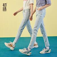 初语夏装新款 时尚马卡龙撞色拼接水洗磨白牛仔裤