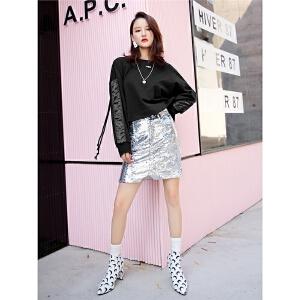七格格长袖黑色酷卫衣秋装女新款韩版潮短款不对称拼接宽松圆领早秋