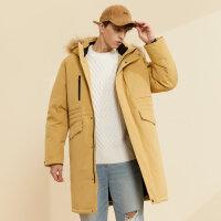 【2件1.5折价:360,可叠券】美特斯邦威羽绒服男新款冬季连帽长款潮流大毛领保暖外套男