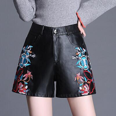 2018新款PU皮短裤女秋冬韩版绣花皮裤子阔腿裤大码显瘦外穿靴裤潮