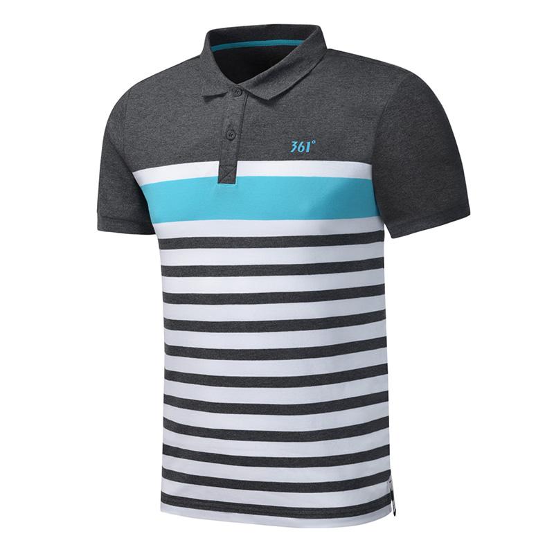 361度男装夏季透气条纹运动t恤翻领短袖polo衫休闲短袖T恤