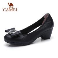 骆驼蝴蝶结高跟鞋女粗跟浅口真皮单鞋秋新款圆头休闲工作女鞋