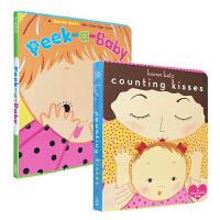 Karen Katz凯伦卡茨低幼启蒙绘本2册 翻翻纸板书 英文原版 Peek-a-Baby Counting Kiss