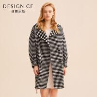 羊毛毛呢外套女季修身显瘦中长格子双面呢大衣
