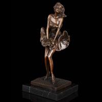 铜雕工艺品 玛丽莲梦露人物铜雕塑 欧式复古摆件装饰品 家居客厅电视柜摆件