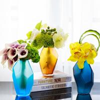 简约现代花瓶 彩色几何玻璃摆件茶几餐桌小清新装饰花瓶 创意家居装饰