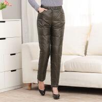 妈妈装羽绒裤女中年内外穿高腰加厚加肥加大男女冬季长裤反季