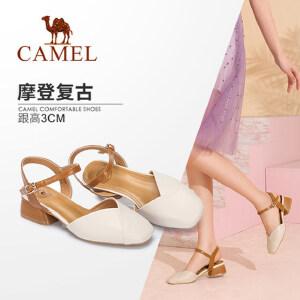 骆驼女鞋 2018夏季新款 时尚优雅奶奶鞋女包头方跟搭扣方头凉鞋女