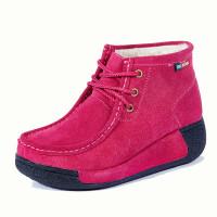冬款真皮中老年厚底加绒棉鞋妈妈鞋休闲豆豆短靴松糕孕妇鞋