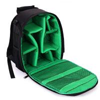 相机包简约男女士小型双肩摄影包单反相机包背包轻便防水 绿色 +防雨罩