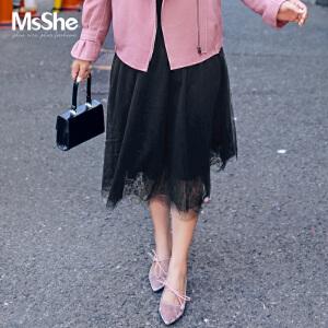 MsShe藏肉加大码女装2017新款夏装网纱半身裙蓬蓬裙M1710267