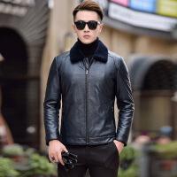 冬季新款海宁 皮衣男短款修身皮夹克绵羊皮羽绒服保暖加厚外套
