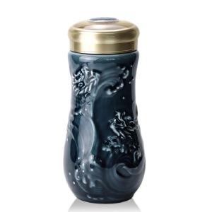 乾唐轩活瓷杯鱼跃龙门随身杯双层250ml陶瓷商务办公水杯子