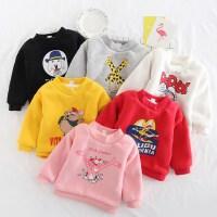中小童冬季新款韩版女童男童北极绒加绒多色卡通卫衣宝宝加厚