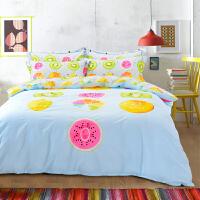 昭辰家纺 纯棉四件套儿童卡通大版四件套60只棉纱简约 活性印花床上用品 卡通套件