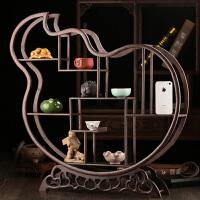 鸡翅木小博古架古董紫砂茶壶架子红木中式多宝阁置物架实木展示架