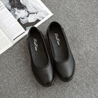 黑色平底加厚鞋底松糕底圆头松紧带上班工作鞋女式妈妈女鞋光面 黑色A712
