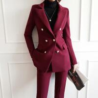 №【2019新款】冬天穿的韩版修身毛呢小西装套装女时尚休闲妮子加厚西服外套