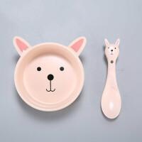 W 卡通儿童可爱陶瓷碗创意造型宝宝碗勺礼品套装婴儿米粉碗家用餐具B31