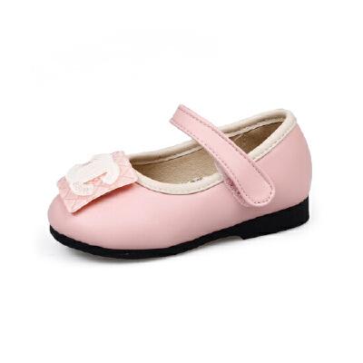 比比我童鞋2017新款女童单鞋秋季中童公主鞋平底学生鞋珠花韩版小皮鞋