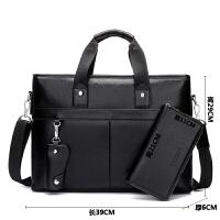 男包商务包斜挎包手提包横款单肩包男商务公文包男士包包s6 黑色