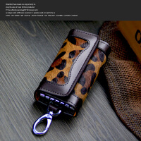 钥匙包豹纹女式女士车钥匙包钥匙扣 深豹纹