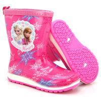 儿童雨鞋男童女童中筒雨靴 幼儿宝宝卡通防滑胶鞋小孩水鞋 冰雪玫红 26 内长17CM