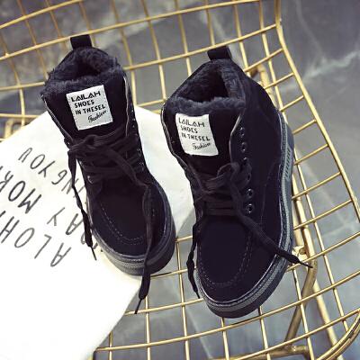 黑色的鞋子女2018新款厚底马丁靴内增高短靴坡跟秋冬雪地棉女靴子 黑色  走进大自然的怀抱,美丽从这里起步。