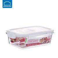 乐扣乐扣保鲜盒耐热玻璃饭盒微波炉烤箱可用密封碗便当碗冰箱储物 长【1000ml】