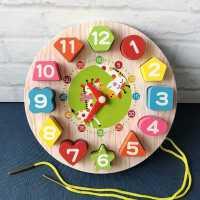 儿童益智早教拼图玩具木质形状数字认知配对积木1-2-4岁男女宝宝