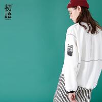 初语2018年春装新款白色休闲棒球服女薄款短外套宽松短款外套女潮