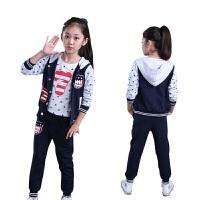 韩版童装新款秋冬中大童女装长袖小孩衣服儿童运动女童三件套