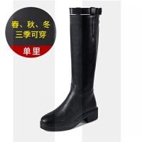 2018秋冬季新款英���L�L筒靴女�R丁靴�T士靴女中高筒靴�R靴皮�L靴SN5589 黑色 �卫�