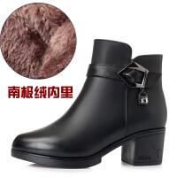 冬季女靴真皮羊毛女短靴子冬天粗跟大�a����鞋中年女士冬鞋棉皮鞋SN7203
