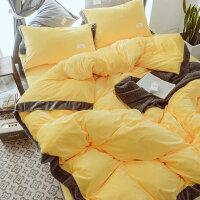 冬季保暖床上水晶绒四件套加厚双面绒珊瑚绒被套床单用品简约风格