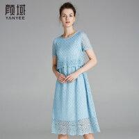 颜域纯色蕾丝连衣裙格子镂空假两件拼接裙子2018品牌女装夏季新款
