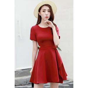 2018春季新款女韩版显瘦雪纺裙子小心机ins超火的红色连衣裙女夏