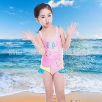 女童加帽子儿童泳衣欧美泳衣小童泳衣宝宝韩版游泳衣一件 粉色